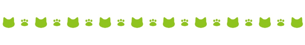 猫の顔と肉球のライン素材グリーン