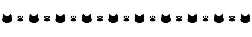 猫の顔と肉球のライン素材ブラック