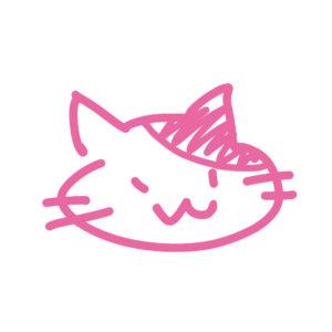 ラクガキ風猫の顔ぶちピンク