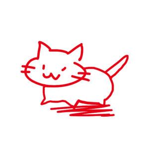 ラクガキ風猫全身レッド