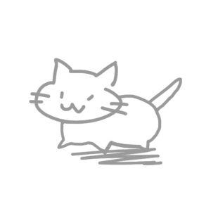 ラクガキ風猫全身グレー