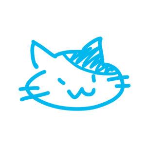 ラクガキ風猫の顔ぶちブルー