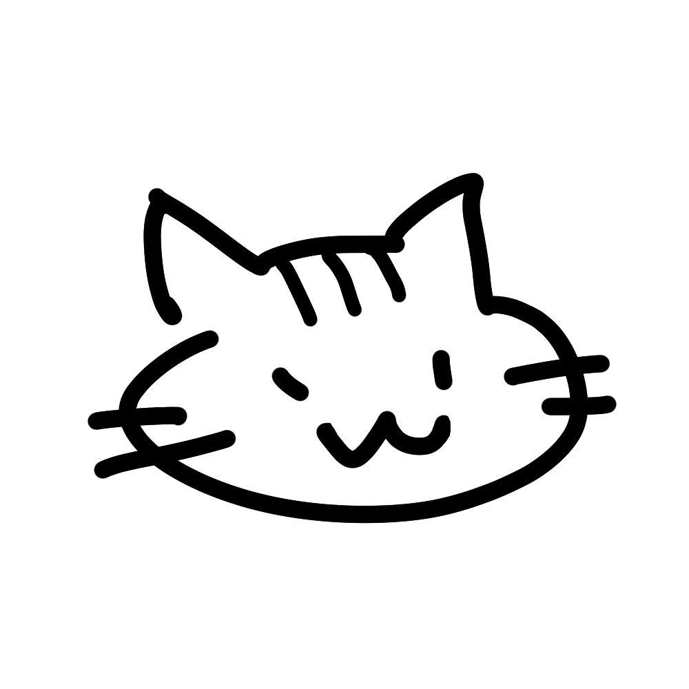 ラクガキ風猫の顔しまブラック