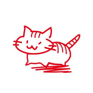 ラクガキ風猫全身しまレッド