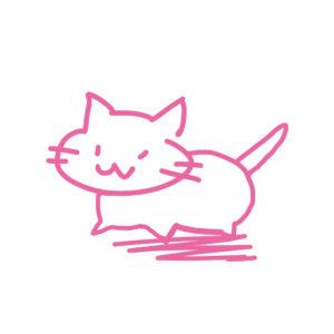 ラクガキ風猫全身ピンク