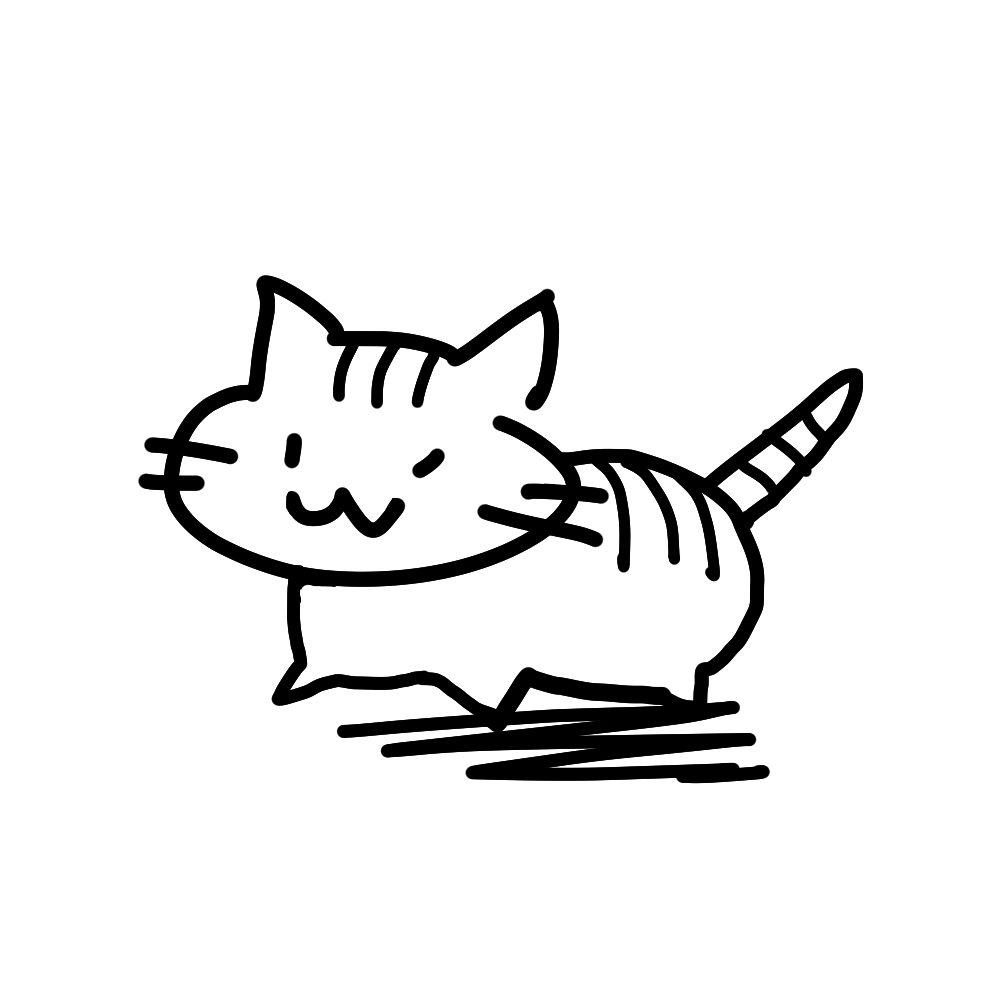 ラクガキ風猫全身しまブラック