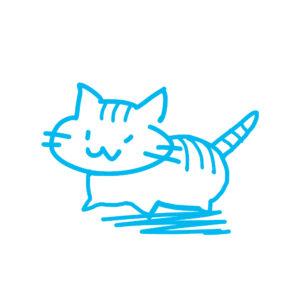 ラクガキ風猫全身しまブルー
