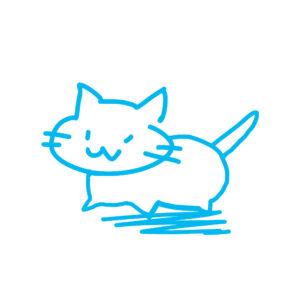 ラクガキ風猫全身ブルー