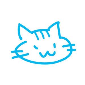 ラクガキ風猫の顔しまブルー