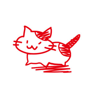 ラクガキ風猫全身ぶちレッド