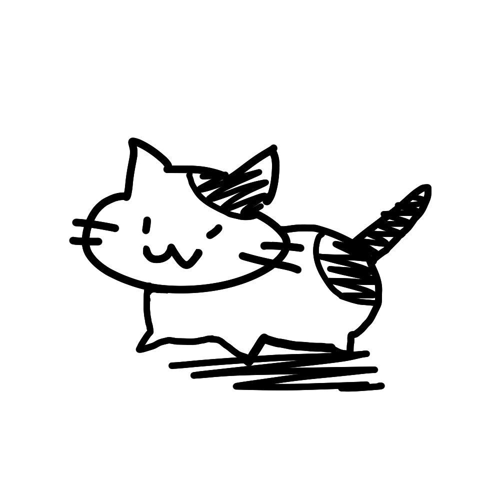 ラクガキ風猫全身ぶちブラック