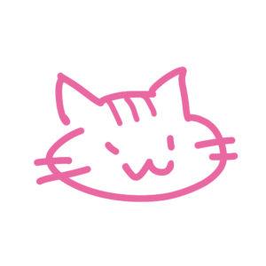 ラクガキ風猫の顔しまピンク