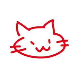 ラクガキ風猫の顔レッド