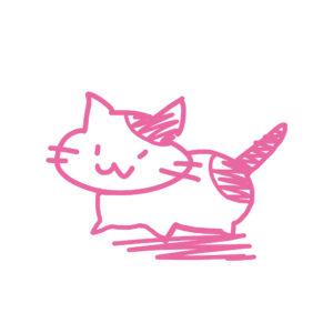 ラクガキ風猫全身ぶちピンク
