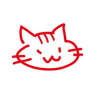 ラクガキ風猫の顔しまレッド