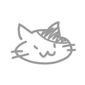 ラクガキ風猫の顔ぶちグレー