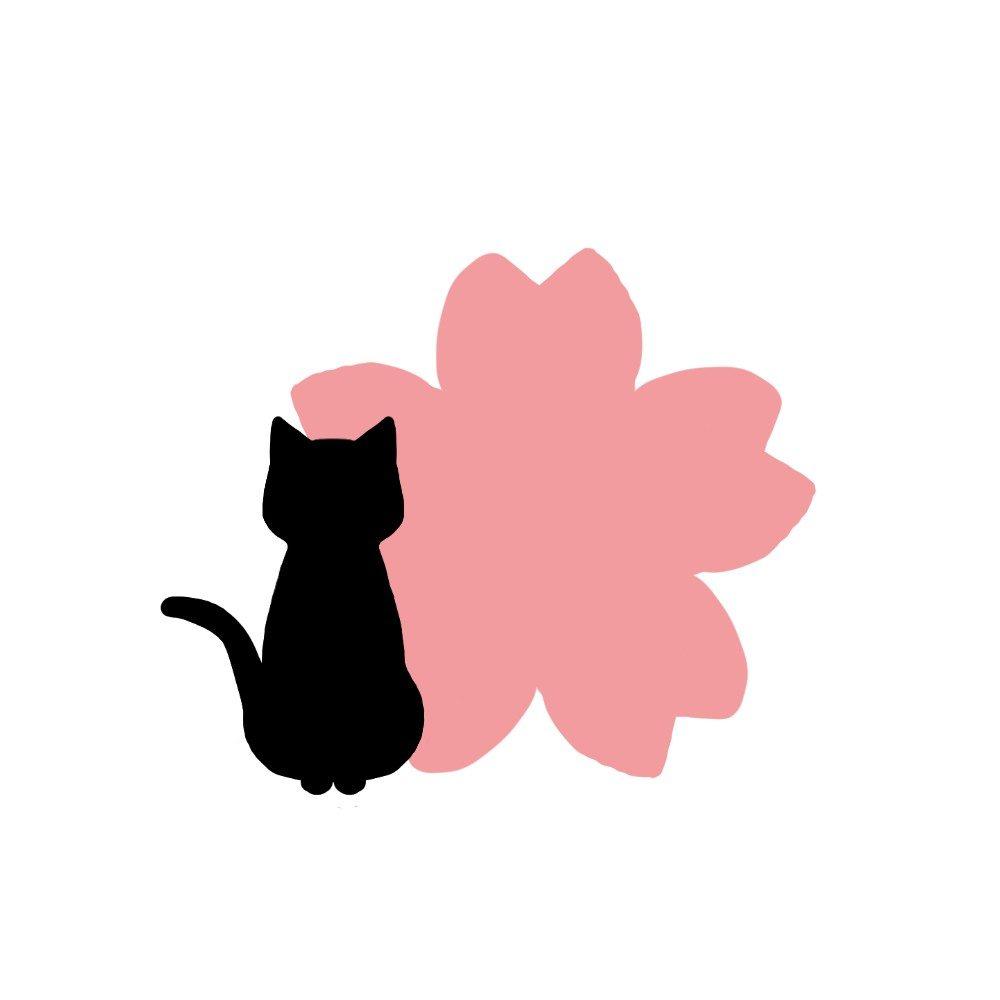 猫と桜の花のシルエット