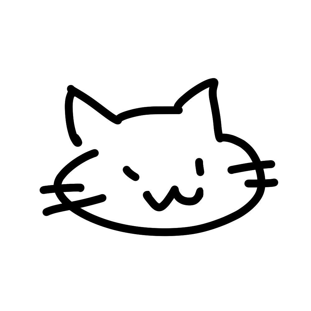 ラクガキ風猫の顔ブラック