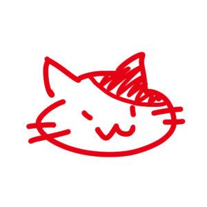 ラクガキ風猫の顔ぶちレッド