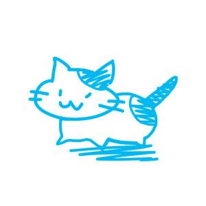 ラクガキ風猫全身ぶちブルー