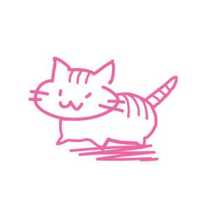ラクガキ風猫全身しまピンク