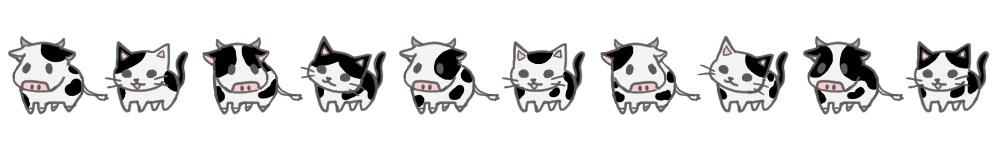 白黒牛柄猫と牛のライン素材