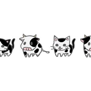 白黒牛柄猫と牛のライン素材300