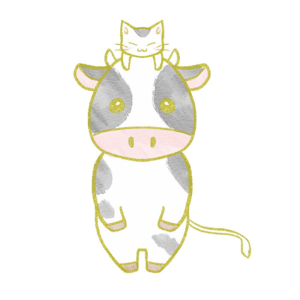 牛の頭に乗った猫のイラスト白黒猫