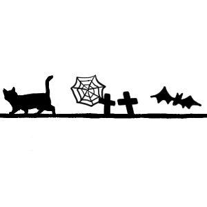ハロウィンをイメージした猫のライン素材ブラック300