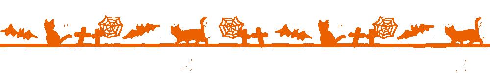 ハロウィンをイメージした猫のライン素材オレンジ
