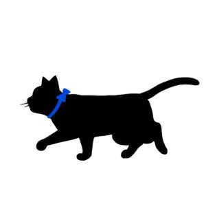 シルエット歩く猫7リボン青