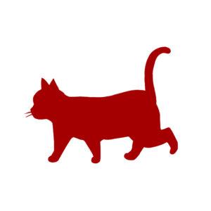 シルエット歩く猫8レッド
