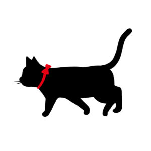 シルエット歩く猫9リボン赤