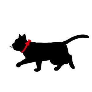 シルエット歩く猫7リボン赤