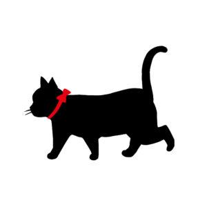 シルエット歩く猫8リボン赤