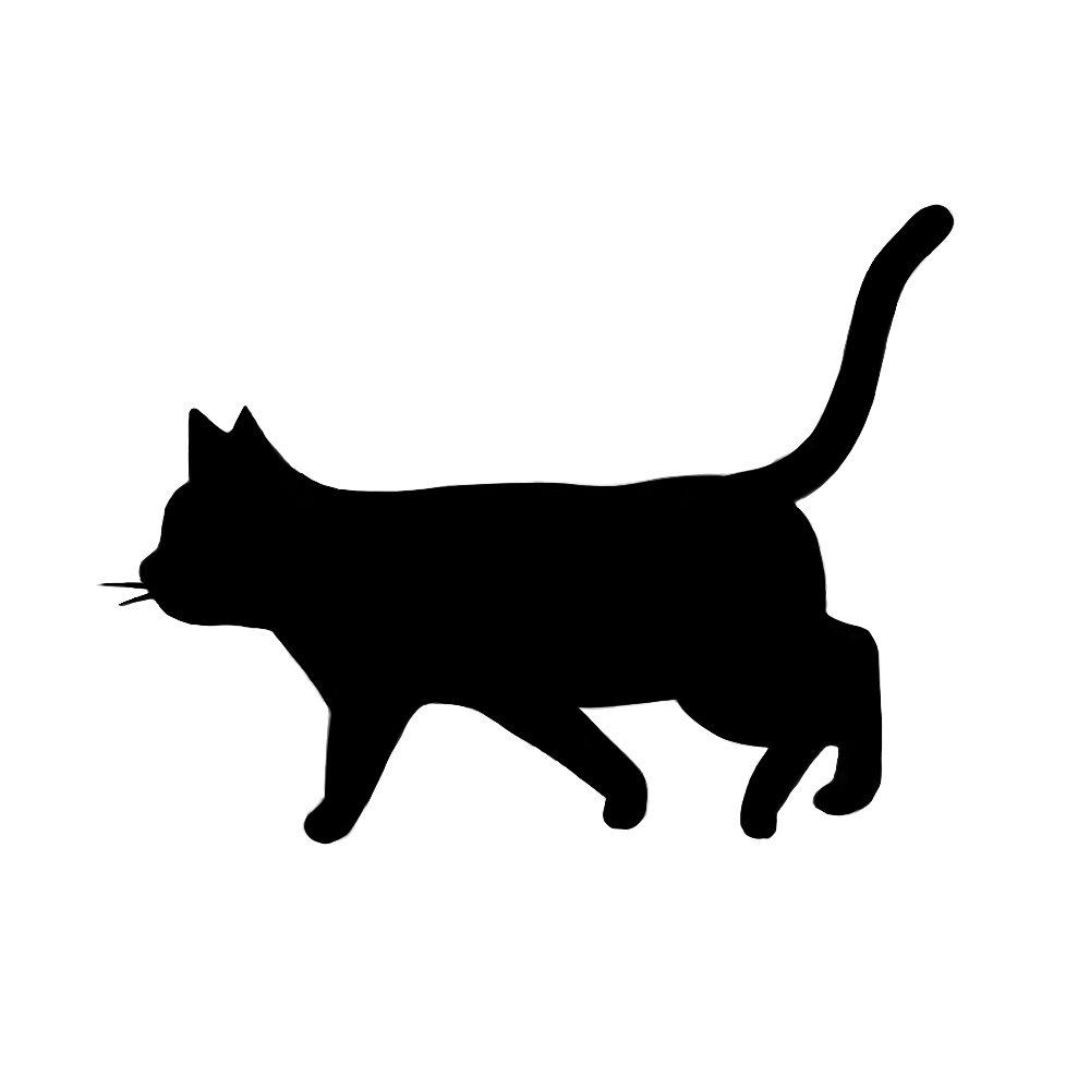 シルエット歩く猫9ブラック
