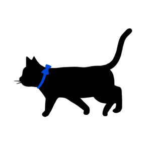 シルエット歩く猫9リボン青