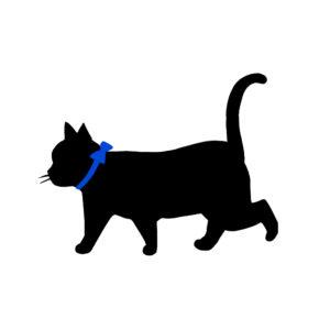シルエット歩く猫8リボン青