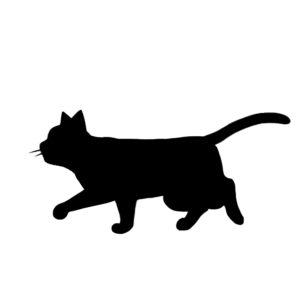 シルエット歩く猫7ブラック