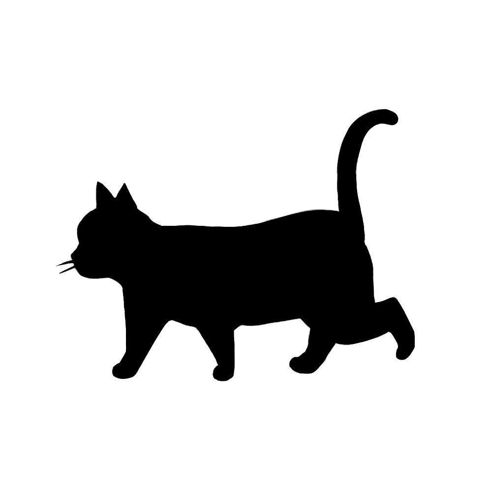 シルエット歩く猫8ブラック