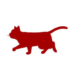 シルエット歩く猫7レッド