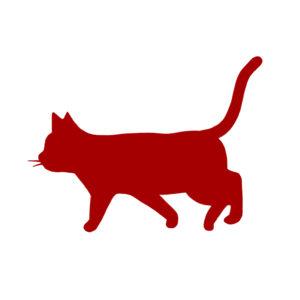 シルエット歩く猫9レッド