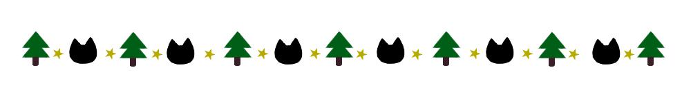 モミの木と猫の顔のライン素材