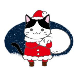 クリスマスプレゼント袋をかついだ猫サンタハチワレ