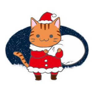 クリスマスプレゼント袋をかついだ猫サンタ茶トラ