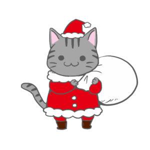 クリスマスプレゼント袋をかついだ猫サンタサバトラ背景無し
