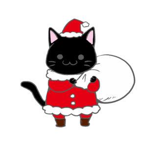 クリスマスプレゼント袋をかついだ猫サンタ黒背景無し
