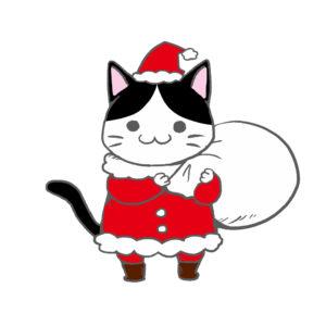 クリスマスプレゼント袋をかついだ猫サンタハチワレ背景無し