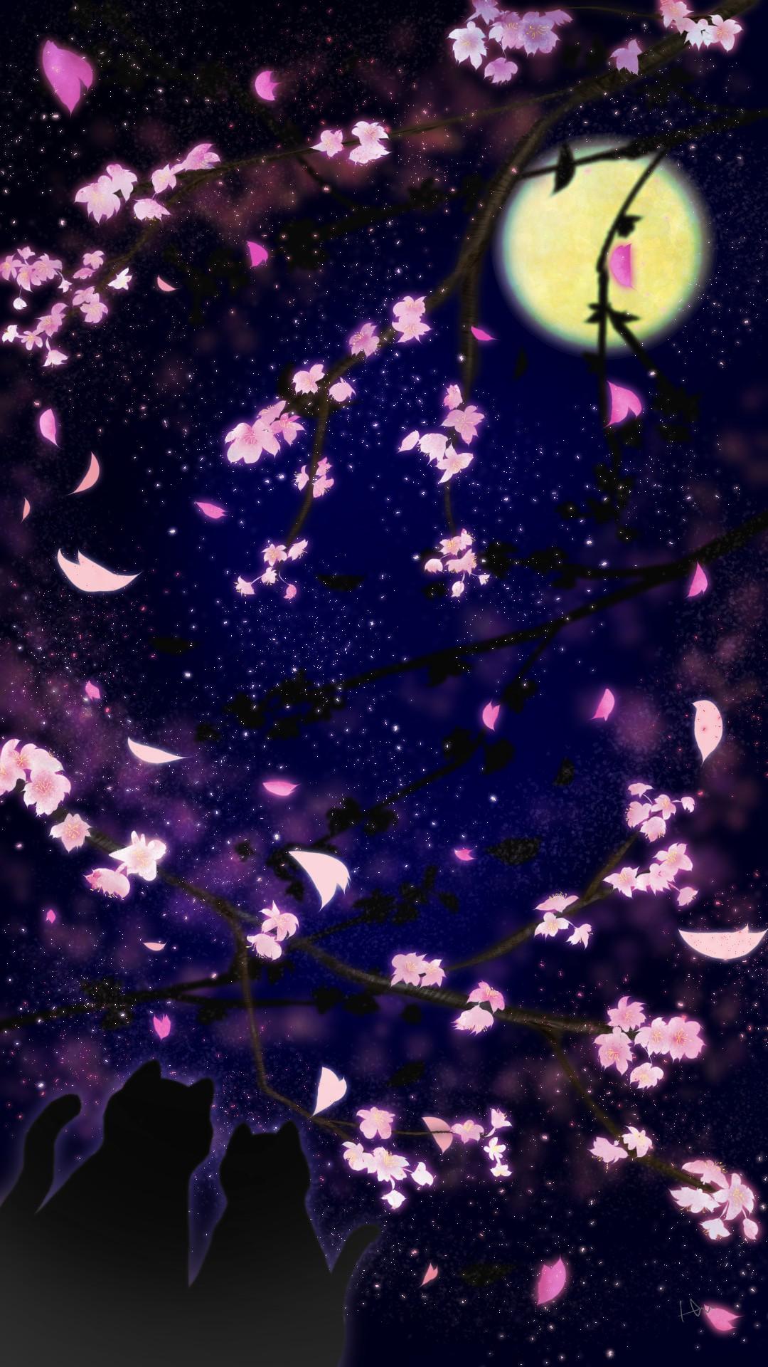 スマホ用壁紙夜桜を見上げる猫