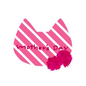 【母の日】ネコの顔とカーネーション【ピンク×ホワイト】
